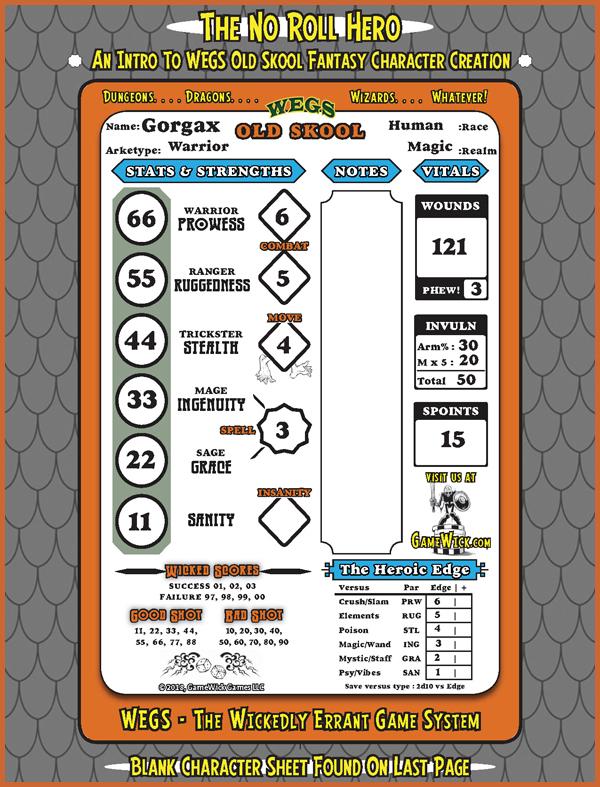 The No Roll Hero Character Sheet